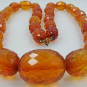 "Jewelry - 24"" Faceted Genuine Natural Baltic Amber Necklace"